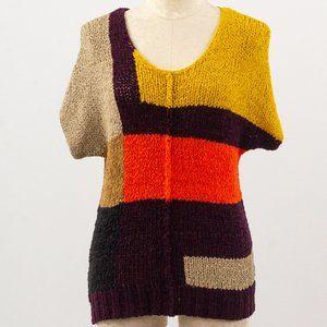 BCBGMaxAzria OS Colorblock Short Sleeve Sweater